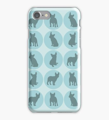 Teal polka dots French Bulldog design iPhone Case/Skin