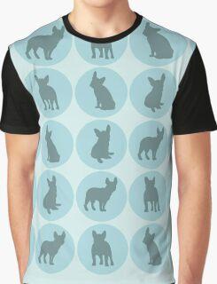 Teal polka dots French Bulldog design Graphic T-Shirt