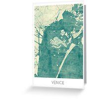 Venice Map Blue Vintage Greeting Card