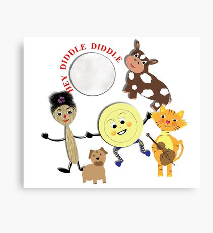 Hey Diddle Diddle Kids Nursery Rhyme Picture Canvas Print