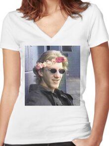 Dylan klebold flower crown. Women's Fitted V-Neck T-Shirt