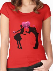 Valentine Couple Silhouettes with Heart Balloon Women's Fitted Scoop T-Shirt