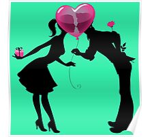 Valentine Couple Silhouettes with Heart Balloon Poster