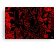 Yin and Yang Black and Scarlet Haze Canvas Print