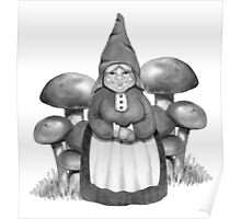Gnome Woman and Mushrooms, Toadstools: Pencil Art Poster