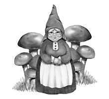Gnome Woman and Mushrooms, Toadstools: Pencil Art Photographic Print