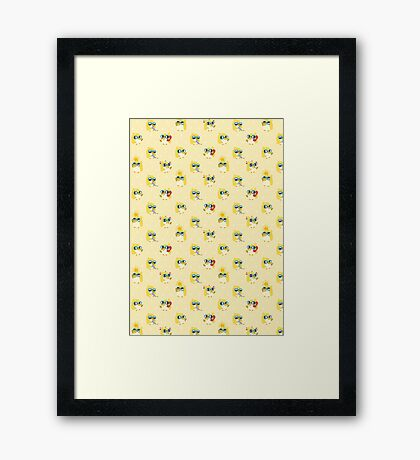 Cute Yellow Penguin Character Framed Print