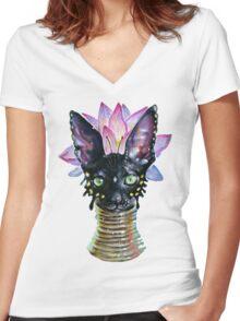 Cat Goddess Women's Fitted V-Neck T-Shirt