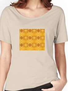 Golden Hibiscus Abstract Pattern Women's Relaxed Fit T-Shirt