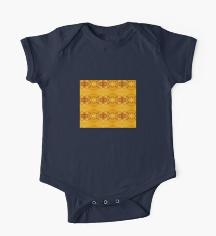 Golden Hibiscus Abstract Pattern One Piece - Short Sleeve