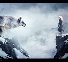 The wolf and the moon by Liancary