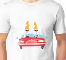 Glamour twins girls driving a retro car. Unisex T-Shirt