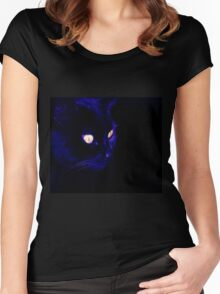 Black Cat With Haunting Halloween Eyes Women's Fitted Scoop T-Shirt