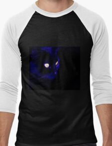 Black Cat With Haunting Halloween Eyes Men's Baseball ¾ T-Shirt