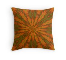 Autumnal Leaves Red Green and Amber Kaleidescope Throw Pillow