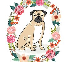Pug Flower Ring cute florals white minimal drawing pet dog breed pugs puppy by PetFriendly