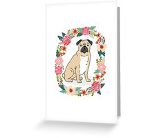 Pug Flower Ring cute florals white minimal drawing pet dog breed pugs puppy Greeting Card