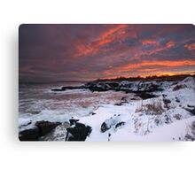 Winter Sunset on the Maine Coast through a snowstorm Canvas Print