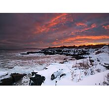 Winter Sunset on the Maine Coast through a snowstorm Photographic Print