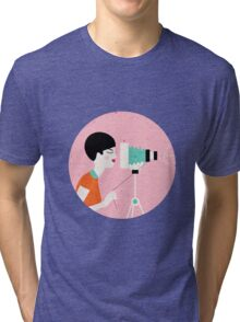 say cheese! retro style woman behind vintage camera Tri-blend T-Shirt