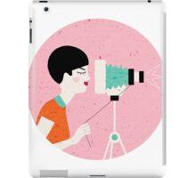 say cheese! retro style woman behind vintage camera iPad Case/Skin