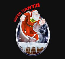 Super Santa flying out of the chimney  Unisex T-Shirt