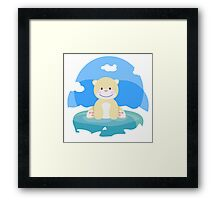 Little pretty polar bear in iceberg Framed Print