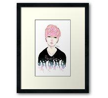 Pink Korean Flower Boy Framed Print
