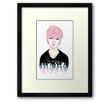 Pink Korean Flower Boy Framed Print