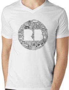 RB Germany Logo Pattern Black Mens V-Neck T-Shirt