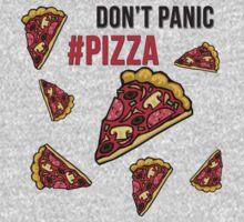 Don't Panic Eat Pizza Cartoon Kids Tee