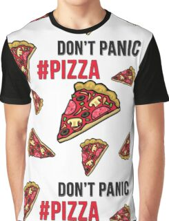 Don't Panic Eat Pizza Cartoon Graphic T-Shirt