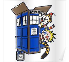 Calvin And Hobbes Tardis dr Who Poster