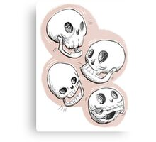Four Skulls in Pastel Pink Metal Print