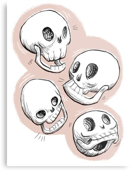 Four Skulls in Pastel Pink by Foss