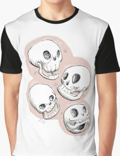 Four Skulls in Pastel Pink Graphic T-Shirt