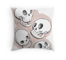 Four Skulls in Pastel Pink Throw Pillow
