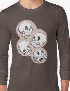 Four Skulls in Pastel Pink Long Sleeve T-Shirt