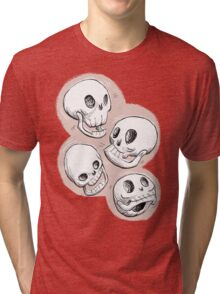 Four Skulls in Pastel Pink Tri-blend T-Shirt