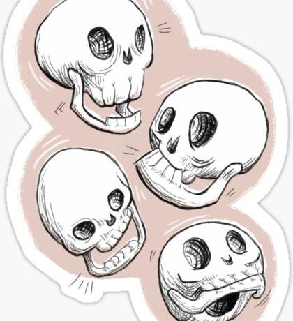 Four Skulls in Pastel Pink Sticker