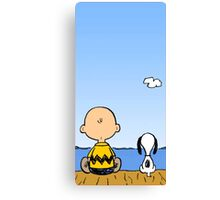 Snoopy And Charlie Brown quality time Canvas Print
