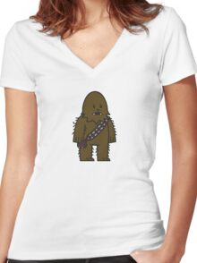 Mitesized Wookie Women's Fitted V-Neck T-Shirt