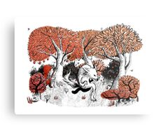 Little Red Riding Hood Print with wolf, forest Metal Print