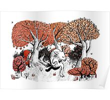 Little Red Riding Hood Print with wolf, forest Poster