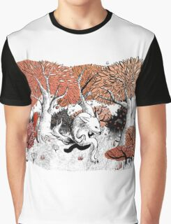 Little Red Riding Hood Print with wolf, forest Graphic T-Shirt