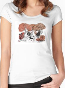 Little Red Riding Hood Print with wolf, forest Women's Fitted Scoop T-Shirt