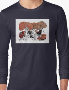 Little Red Riding Hood Print with wolf, forest Long Sleeve T-Shirt