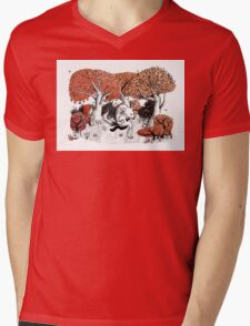 Little Red Riding Hood Print with wolf, forest Mens V-Neck T-Shirt
