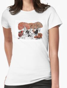 Little Red Riding Hood Print with wolf, forest Womens Fitted T-Shirt