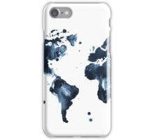 Watercolor map of the world (black and white) iPhone Case/Skin